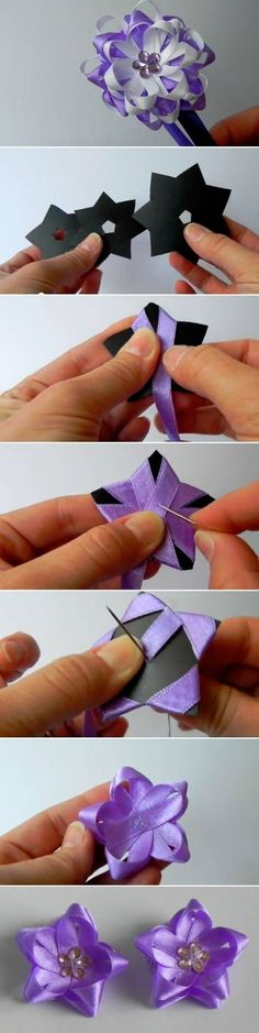 It's often easier to tie a ribbon flower bow with a little device. For example, you can tie a tiny ribbon bow easily with the help of a fork. If you want to tie a more complicated ribbon flower bow, you can use a piece of template, as shown in … Ribbon Art, Diy Ribbon, Ribbon Crafts, Flower Crafts, Ribbon Bows, Fabric Crafts, Diy Crafts, Ribbons, Ribbon Storage