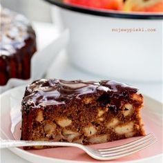 chocolate apples cake with almonds Polish Desserts, Delicious Desserts, Dessert Recipes, Chocolate Apples, Lime Cake, Apple Cake, Something Sweet, Sweet Bread, Sweet Recipes