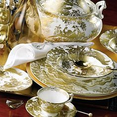 Gold Aves Dinnerware from Royal Crown Derby in Yardley, PA from Pink Daisy