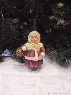 """Купить Ватная елочная игрушка """" Настенька """" - новогодние игрушки, елочные украшения"""