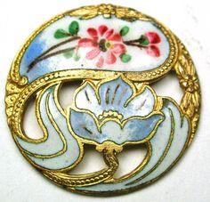 """Antique Enamel Button Pierced Nouveau Floral w/ Hand Painted Flowers 7/8"""""""