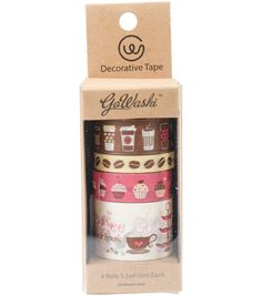 Decorative Washi Tape Assorted Widths 5m-Coffee,