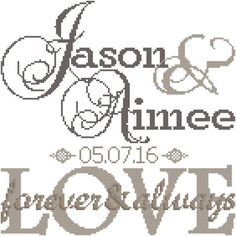 Modern Wedding Cross Stitch Pattern Forever & Always Love