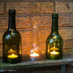 Windlicht van gebruikte wijnfles