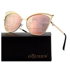 1d7e00c3706bf8 GQUEEN Lunettes de soleil polarisé Oeil de Chat Fashion Mode Classique cat  eye Miroir Réfléchissantes cadre Métallique pour femme avec protection  UV400 MT3