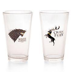 be a better two pack with Stark/Targaryen.. all well...   ThinkGeek :: Game of Thrones Pint Glass Set