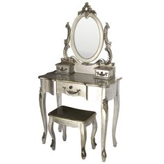 Silver Toulouse Dressing Table and Stool   Dunelm Mill