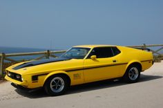 the ghost and the darkness 1973 Mustang, Mustang Mach 1, Yellow Mustang, Mustang Fastback, American Sports, American Muscle Cars, Oldsmobile 88, Ford Classic Cars, Classic Mustang
