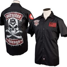 Wornstar Skull WorkshirtEdit  $59.99    Classic rock n roll inspired, Wornstar Chicago Skull work shirt has a killer, printed graphic on the front and back of a black button-down short sleeve light weight work shirt. Features exclusive red and black US flag and logo patches on the front and the sleeve. This durable work shirt is lighter weight, breathable, and great for wearing on stage and off. Perfect for rock stars and rock n roll fans.