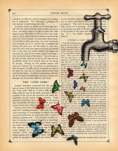 Butterflies Art Print Magical Faucet Vintage Dictionary Book Print