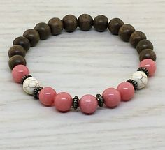 ~ Bracelets by Karen ~ Morganite, Magnesite and Graywood with Antiqued Brass Spacers