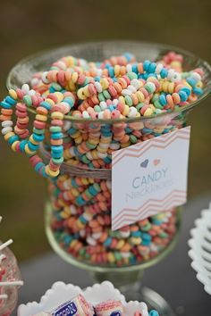 Loved this jar of colorful candy necklaces accented by the chevron design label.