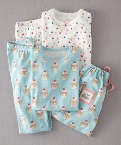 Take a look at this Ice Blue Cupcakes Pajama Set - Toddler & Girls by Mini Boden on #zulily today!