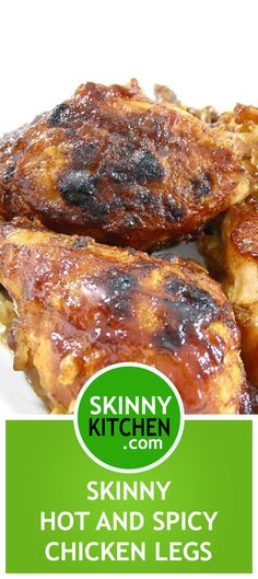 Skinny Hot and Spicy Chicken Legs Hot and Spicy Chicken Legs in a Rich BBQ Sauce. Think spices of hot wings, fried chicken & bbq chicken all in one! Each leg calories, fat & 5 SmartPoints.skinnykitchen… More from my siteAsian Sticky Chicken Chicken Leg Recipes, Chicken Drumstick Recipes, Healthy Chicken, Beef Recipes, Cooking Recipes, Healthy Recipes, Chicken Receipe, Cleaning Recipes, Healthy Dinners