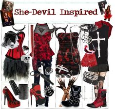 """She-Devil Inspired"" by xxxbloodyrosexxx ❤ liked on Polyvore"