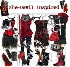 """She-Devil Inspired"" by xxxbloodyrosexxx ❤ liked on Polyvore"