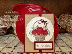 OMG....I Love, Love this new Sale-A-Bration set from Stampin Up....It's just my style! I am going to make tons with it! You can get the set free with a qualifying purchase. Together the Blossoming Basket stamp set and  the Basket Weave embossing folder are one of my all time favorite sets ever!