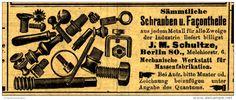 Original-Werbung/ Anzeige 1904 - SCHRAUBEN UND FAÇONTEILE SCHULTZE BERLIN - ca. 100 x 30
