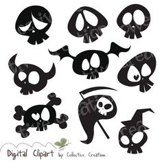 Cute Cartoon Skull Silhouette Clipart Digital Clip Art- Ideal for Scrapbooking, Card Making Cupcake Toppers and Paper Crafts Arts And Crafts For Teens, Art And Craft Videos, Skull Silhouette, Silhouette Vector, Halloween Illustration, Desenho Tattoo, Tatoo Art, Flower Doodles, Doodle Flowers
