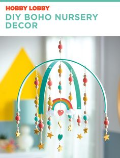 Give your nursery a boho vibe with this handcrafted wooden mobile. Craft Projects For Adults, Diy Projects Videos, Diy Home Decor Projects, Fun Projects, Boho Nursery, Nursery Decor, Print Coupons, Boho Diy, Hobby Lobby
