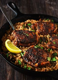 One Pan Spanish Rice & Spiced Chicken Recipe | Yummly
