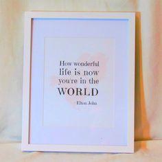 Music Lyric Elton John Nursery Decor Printable Wall Art Digital Print Quote, Instant Download