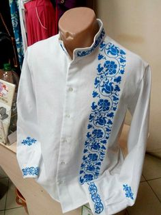 Gents Shirts, Banded Collar Shirts, Guayabera Shirt, Men In Uniform, Embroidery Dress, Casual Shirts, Shirt Designs, Menswear, Men Casual