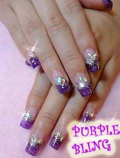 Pretty purple bling nails! Purple my fav color!!!
