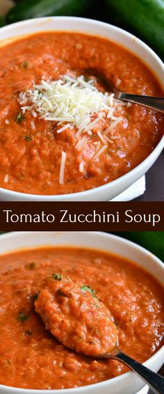 Zucchini Tomato Soup Recipe. Delightful, comforting, and easy tomato soup made with addition of fresh zucchini. It\'s creamy and made with some fresh grated Parmesan cheese. Serve it with some grilled cheese sticks for a fun lunch. #soup #tomatosoup #zucchini #zucchinisoup #vegetablesoup