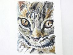 Cat ACEO tabby cat miniature painting original watercolour 2.5 inches x 3.5 inches SFA