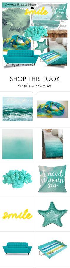 """eat  ... sleep ... beach ... repeat"" by boroscarmen ❤ liked on Polyvore featuring interior, interiors, interior design, home, home decor, interior decorating, One Bella Casa, Joybird and Jay Import"