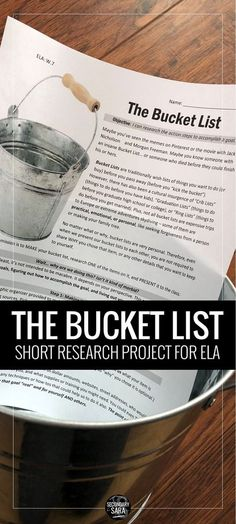 Short research project for secondary ELA - students research the steps needed to complete an item on their bucket lists and present their findings to the class. (Goal-setting in disguise! Teaching Writing, Teaching Tips, Teaching English, Education English, Writing Lab, Teaching Themes, Middle School Writing, Middle School English, 7th Grade Ela