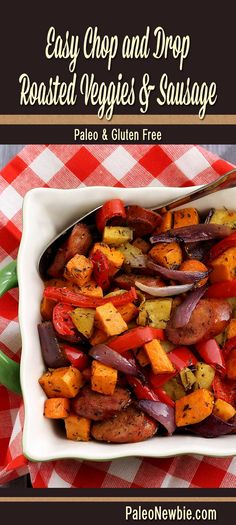 Paleo Newbie easy chop and drop roasted veggies and sausage recipe sausage and veggies;recipes with sausage dinner;spaghetti with sausage;orrechiette with sausage; Paleo Recipes Easy, Real Food Recipes, Cooking Recipes, Paleo Meals, Simple Recipes, Paleo Sausage Recipes, Free Recipes, Pork Recipes, Yummy Recipes