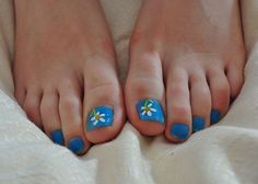 Cute Toe Nail Designs: Flower And Blue Nail Design For Toes Nail Art ~ Nail Designs Inspiration