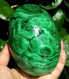 Brilliant malachite egg from Mashamba West Mine, Congo.  Geology Wonders