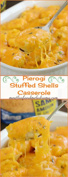 Pierogi Stuffed Shells Casserole -- Made with cheddar mashed potatoes, pasta shells and cheese, it's comfort food that tastes like pierogi without the work! AD