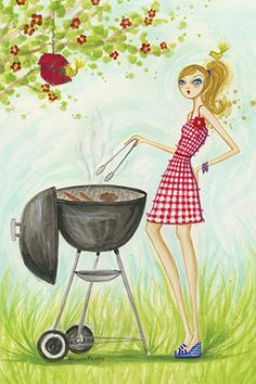 """Backyard BBQ #2"" By Bella Pilar Canvas Print #BPR149"