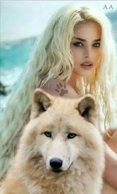 White wolf with white lady. Wolf Love, Wolf Spirit, Spirit Animal, Fantasy Wolf, Fantasy Art, Animals And Pets, Cute Animals, Wolves And Women, Wolf Girl