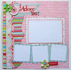 I Adore You Premade 1 Page 12x12 Scrapbook by GLOwormpaperdesigns, $8.95