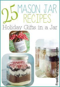 Looking for gifts for your neighbors or co-workers?! These 25 Mason Jar Recipes from FreebieFindingMom.com are perfect! #giftideas #recipes