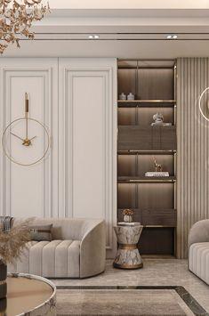 DASWANI on Behance Modern Classic Interior, Luxury Interior, Interior Architecture, Home Room Design, Interior Design Living Room, Living Room Designs, Home Living Room, Living Room Decor, Neoclassical Interior Design