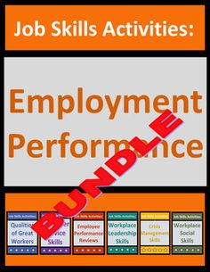Employment performance bundle teaches students critical job skills using real-life employment situations, examples, and do's and don'ts. SAVE 23% compared to purchasing the 6 products separately. Includes 38 no-prep pdf pages of student content (situational multiple choice questions, fill-in-the blank activities, free response questions, categorization activities, word search puzzles, etc.) and keys