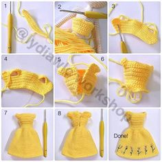Doll Dress – Dress for doll EN: Happy Sunday to all! A few days ago I happened to see this. Amigurumi doll dress photo tutorial (no text) crochet More Click Visit link above for more options Adding hair to your crochet doll - Salvabrani ru - Playing wit Crochet Doll Dress, Crochet Barbie Clothes, Crochet Doll Pattern, Knitted Dolls, Crochet Patterns, Knitted Flower Pattern, Knitting Patterns, Beginner Sewing Patterns, Basic Crochet Stitches