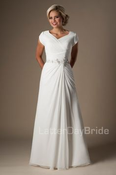 The Dimitri | This classic modest wedding gown features a ruched bodice, lovely jeweled waistband and a beautifully cascading chiffon skirt.    Gown available in Ivory or White.    *Gown pictured in Ivory    Sleeve length or neckline can be customized.  Please call for more information.    Available at LatterDayBride.com or in Store Located in Salt Lake City, Utah