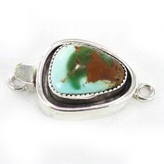 ROYSTON TURQUOISE STERLING CLASP 17x13mm GREENS GOLDS from New World Gems