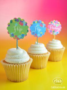 Hip Hip Hooray free cupcake topper printables