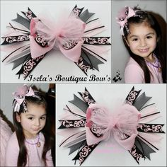 Pink and Black Damask with pink tulle in the center Stacked Hair Bow measures 6-7 inches $7