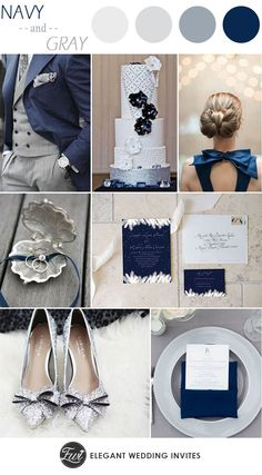 Navy Blue and Gray Wedding Color Ideas and Wedding #weddingcolors || elegantweddinginvites.com || Selected by Finepointwedding.com