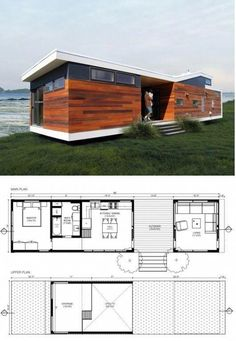 Increíble casa moderna construida a partir de 3 contenedores inservibles Increíble casa moderna construida a partir de 3 contenedores inservibles Tiny House Cabin, Modern House Plans, Tiny House Design, Small House Plans, House Floor Plans, Modern Tiny House, Prefab Homes, Modular Homes, Tiny Homes