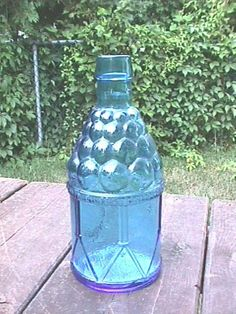 "Wheaton Glass McGiver's Army Bitters Ice Blue 7 1/2"" Glass Bottle"